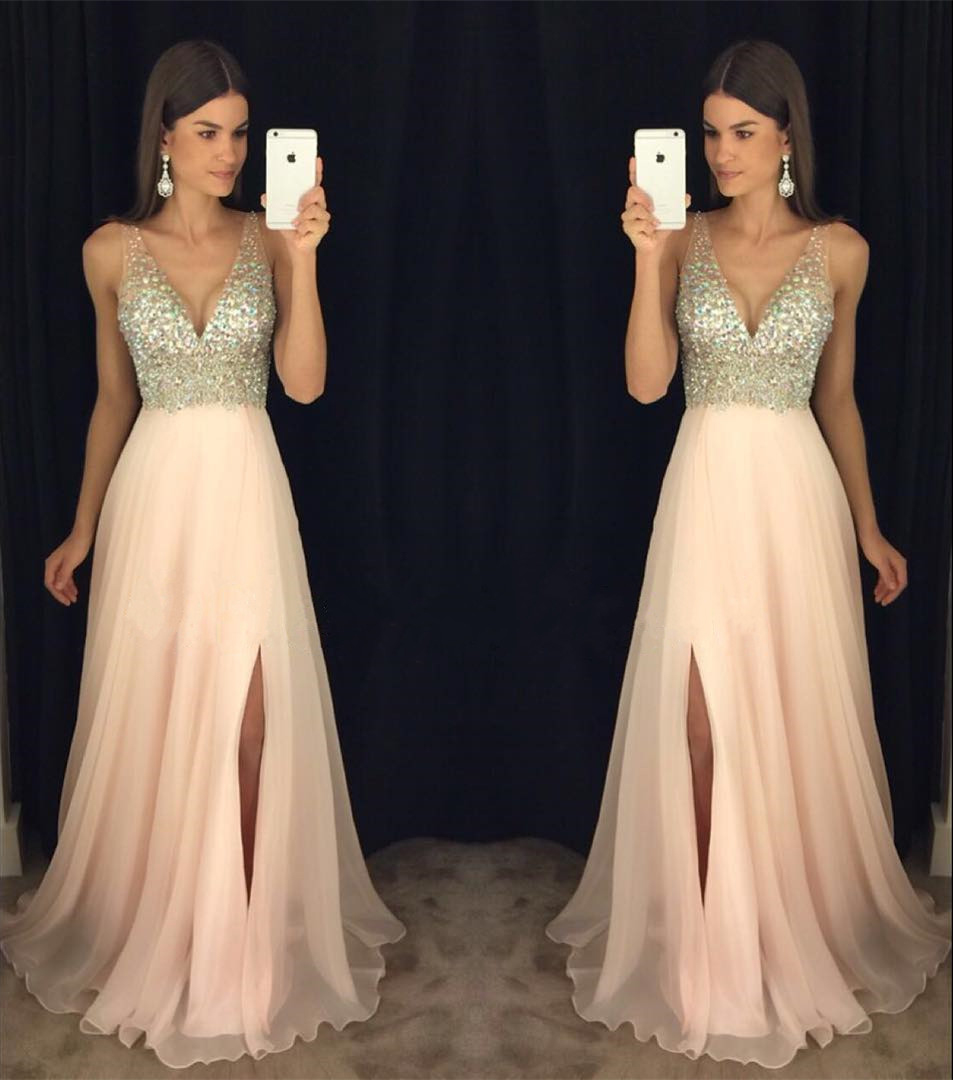 Beaded Blush V Neck Formal Gown, 2017 Backless Prom Dress With Side ...