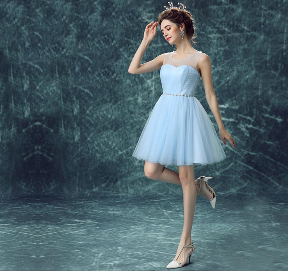 D82 Cute Short Light Blue Scoop Perspective Straps Knee-length Tulle ...