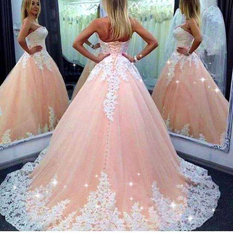 Blush Pink Tulle with white Lace appliqued Wedding Dresses,Ball Gown ...