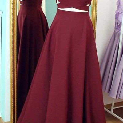 6a5941010db Two Piece Beads Prom Dresses Party Gown pst0948.  177.00. Burgundy prom  dresses celebrity dresses banquet dresses spaghetti straps