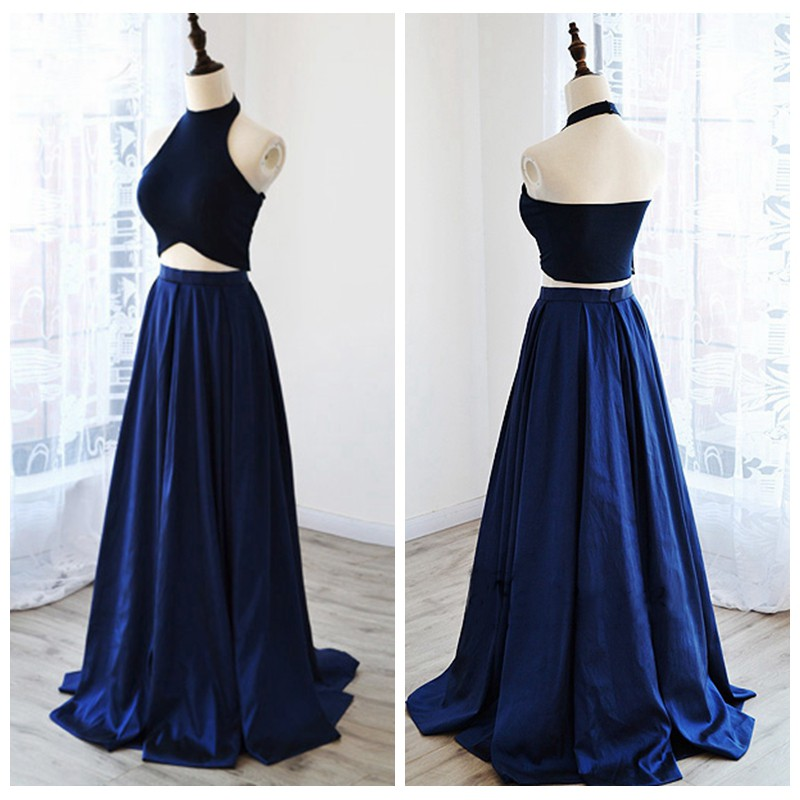 Stylish Two Pieces Halter Royal Blue Satin Long Prom/Evening Dress ...