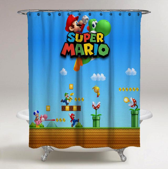 Super Mario Bross New Edition Custom Shower Curtain Print On