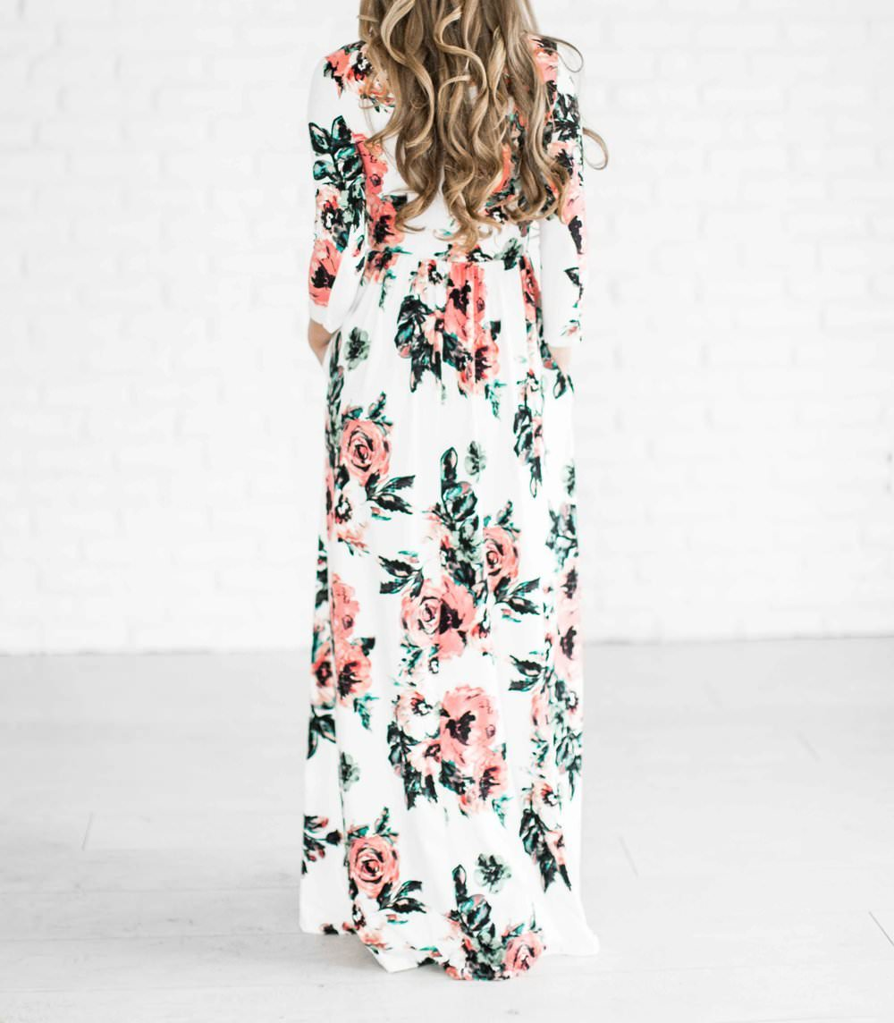 Outletpad White Floral Print Floor Length Dress Online Store