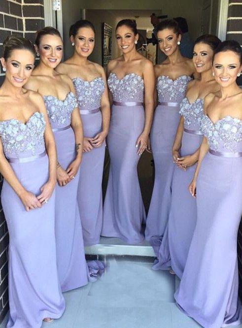 Charming Sheath Strapless Floor-Length Bridesmaid Dress · HerDresses ...