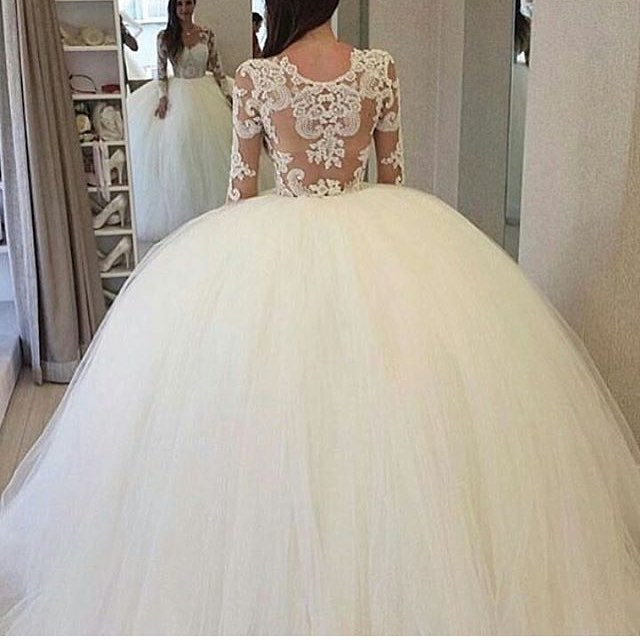 H376 Elegant Long Sleeves White Lace Long Wedding Dress,Ball Gown ...