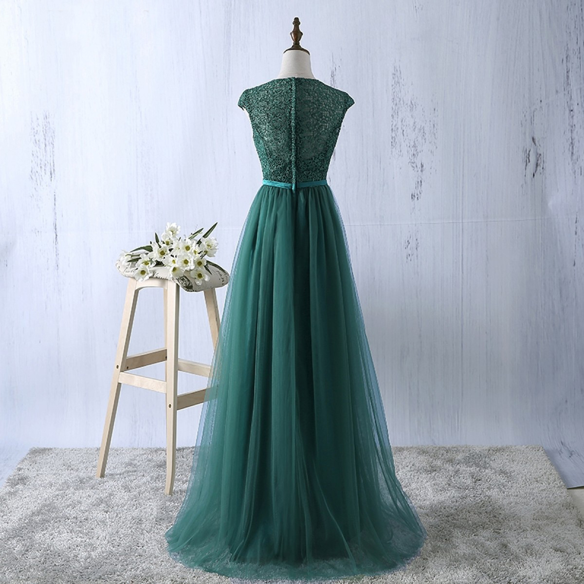 New Arrival A-Line Round Neck Cap Sleeves Long Prom Dress ...