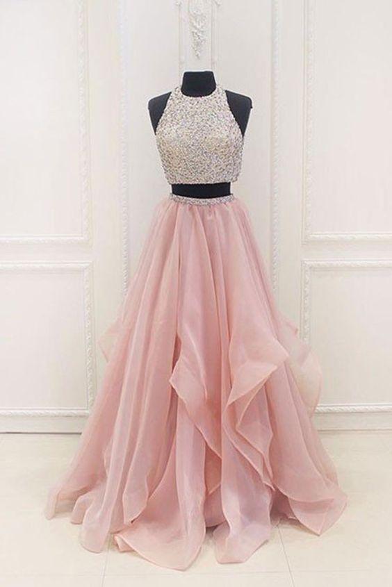 Elegant Prom Dress,Two Piece Prom Dress,Long Prom Dresses,Tulle ...