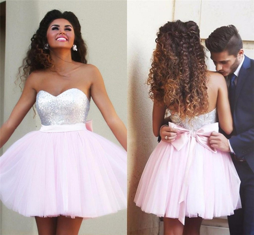 Pretty Pink Short Homecoming Dress With Bow Belthandmade Homecoming