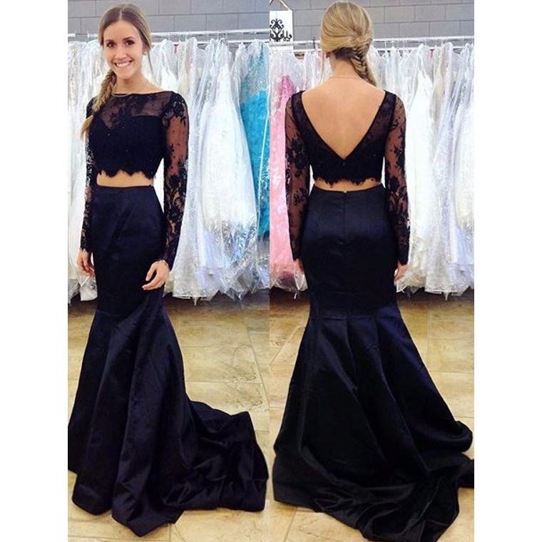 Two Piece Prom Dress, Long Sleeve Lace Prom Dresses, Navy Blue Prom ...