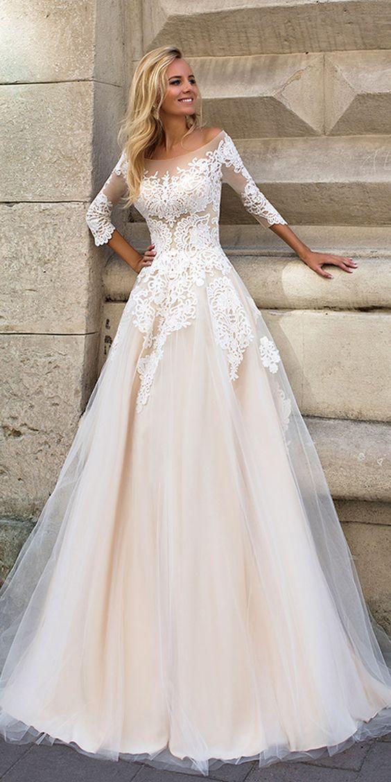Half Sleeve Wedding Dress,Appliques Prom Dress,Gorgeous Prom Dress ...