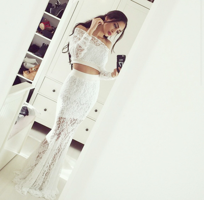 White Prom Dress,Off-shoulder Prom Dress,Mermaid Prom Dress, Hot ...