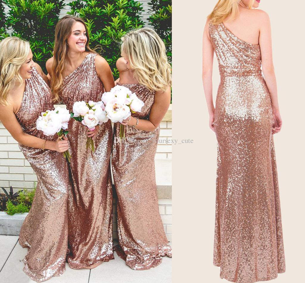 P253 rose gold sequins bridesmaid dress long bridesmaid dress2017 p253 rose gold sequins bridesmaid dress long bridesmaid dress2017 one shoulder bridesmaid dress junglespirit Image collections