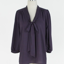 Solid Crepe De Chine Top Tunic Dress with Neck Tie Detail - Purple SML