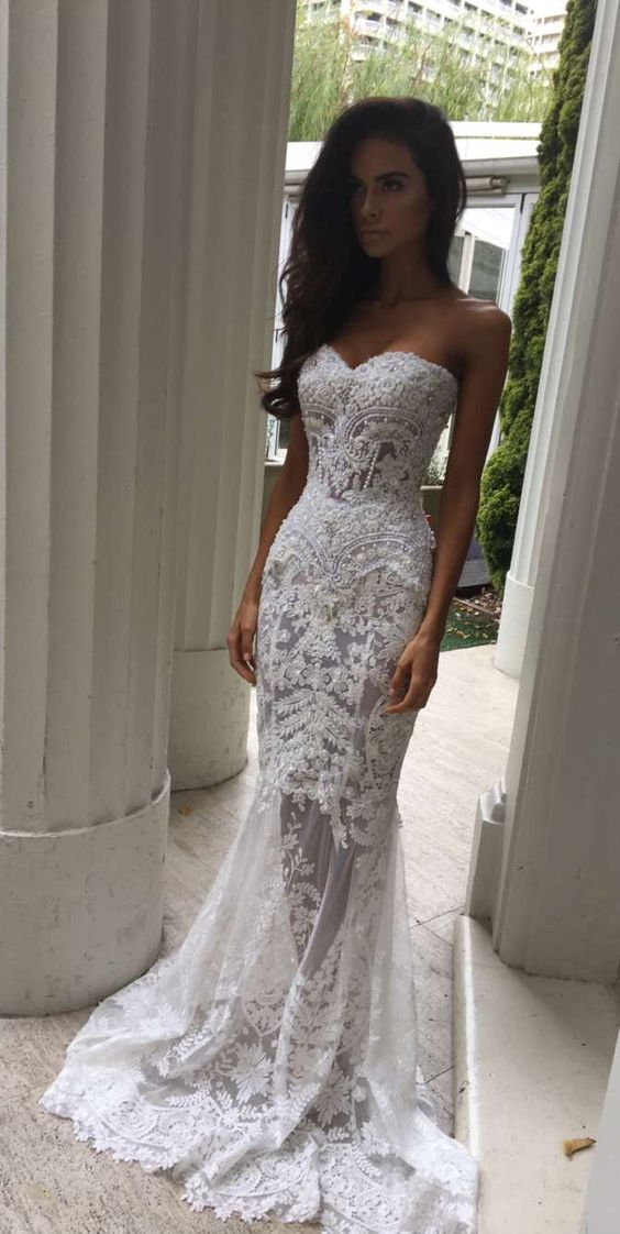Dress prom white with sleeves lace