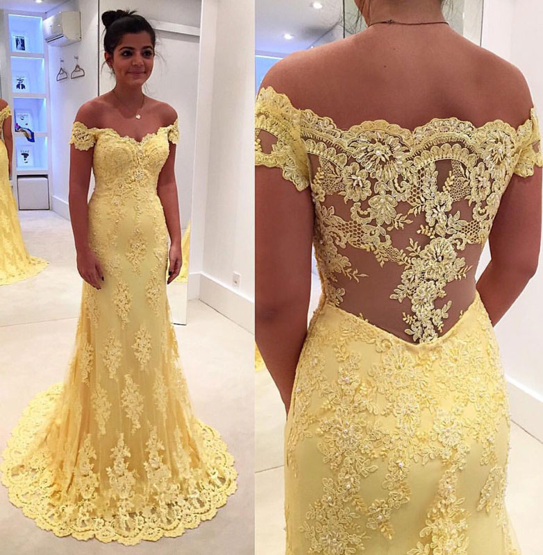 Yellow Lace Long Prom Dress Lace Evening Dress Yellow Formal Dress