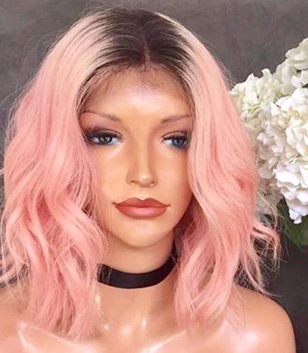 "Barbie Nail Art Games Free Download: Peng Kristin \\ Ombre Pink Bob 12"" Lace Front Virgin Human"