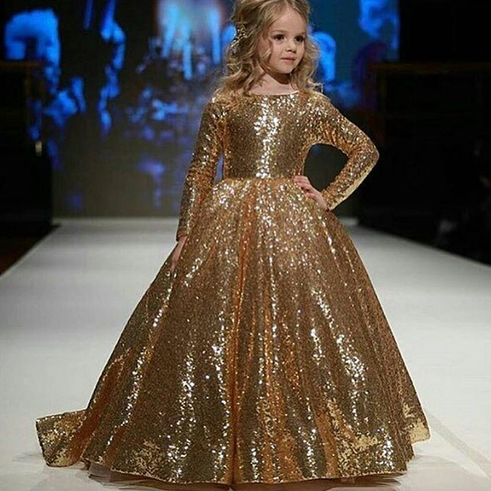 Elegant Gold Sequins Flower Girls Dresses, Long Sleeve Little Girls ...