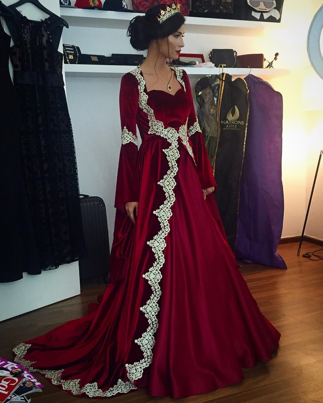 Muslim Dubai Kaftan Evening Dress, Wine Red Velvet Evening Dress, Lace Evening Gown, Two Piece Prom Dresses, Saudi Arabic Evening Gown from NINABRIDAL