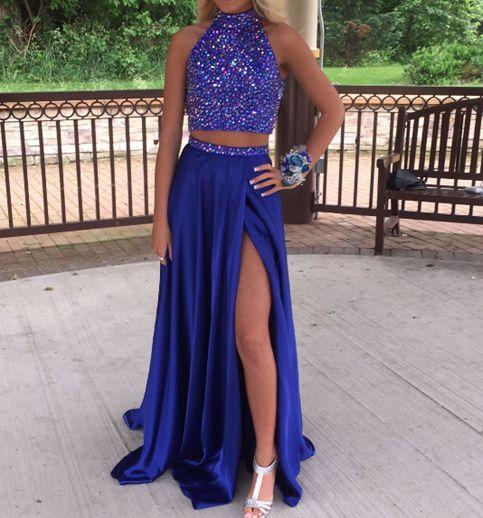 Royal Blue Prom Dresses,Prom Dress 2017,Leg Slit Prom Dress,Two ...