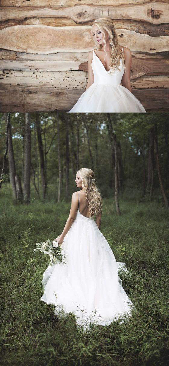 White Long Wedding Dress 2017 Wedding Dress Backless Wedding Dress