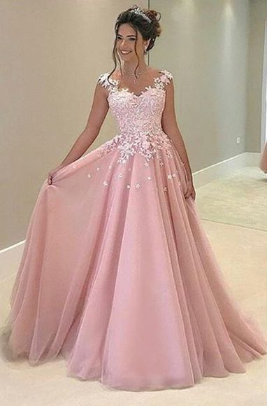 AM112 Lace Appliques Pink Tulle Prom Gowns, Fashion Lady Prom Dresses,  Charming Lady Dresses,Prom Gowns 2017 from Dressesamy
