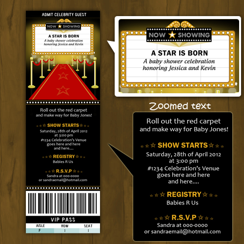 Hollywood Baby Shower Printed invitations Ticket Style A Star is
