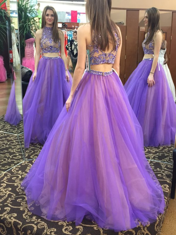 Beads Two Piece High Neck Long Light Purple Prom Dress With Open