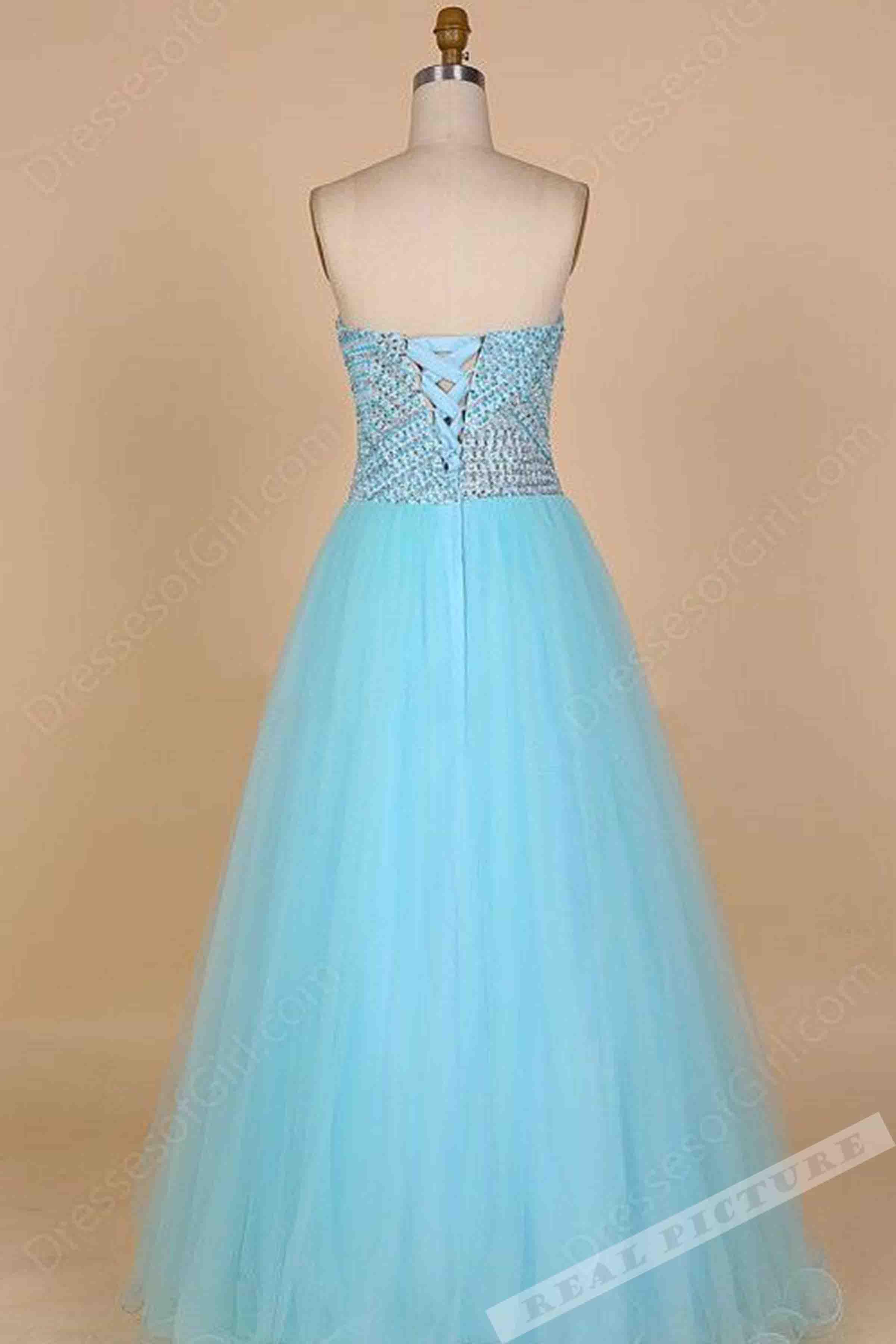Light blue tulle sweetheart sequins princess long dress,cute dress ...