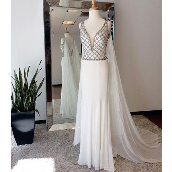 Affordable Prom Dresses,White Prom Dress,Beaded Top Prom Dresses ...