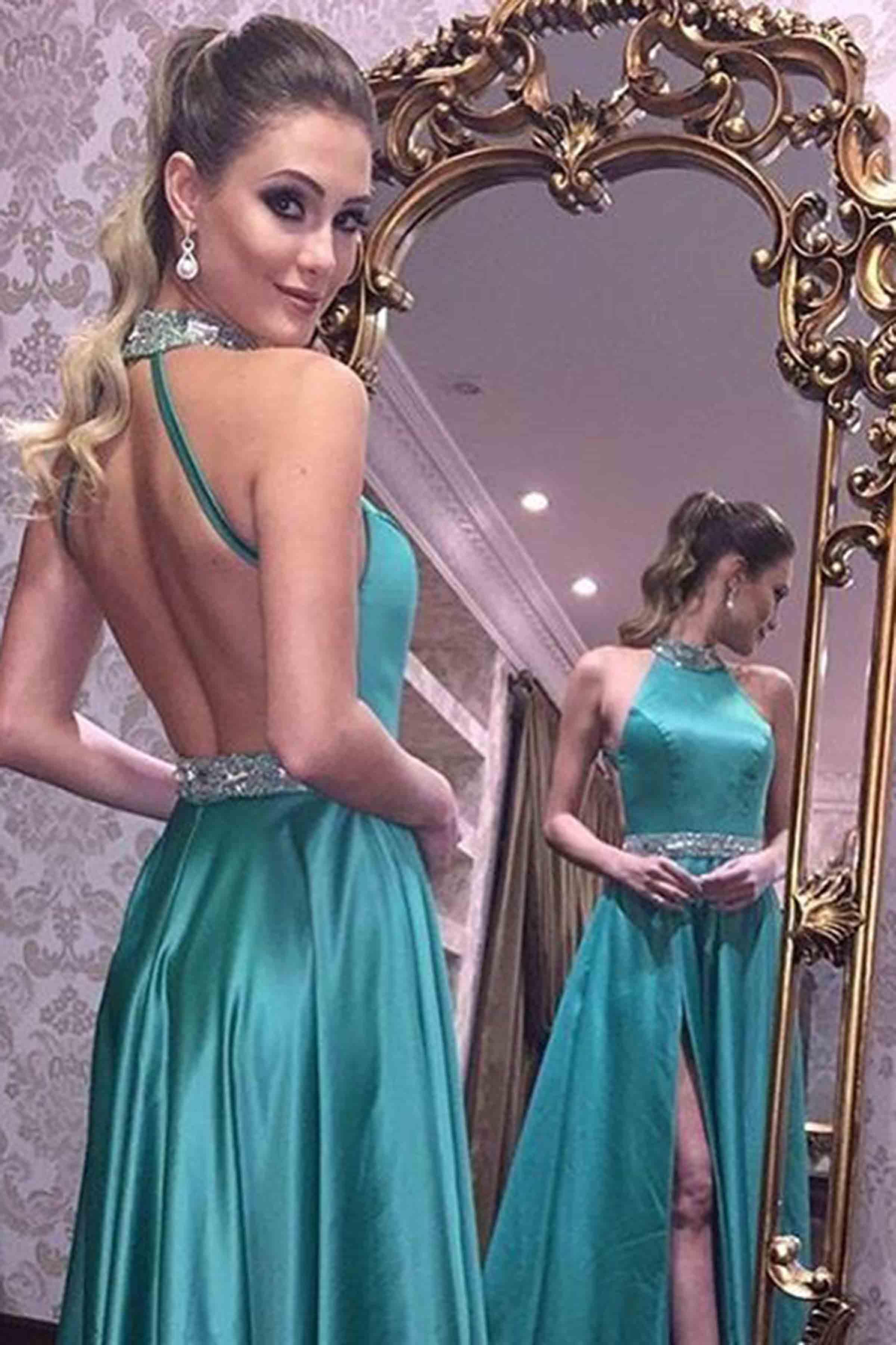 Unique green backless long prom dress, green evening dress · dress ...