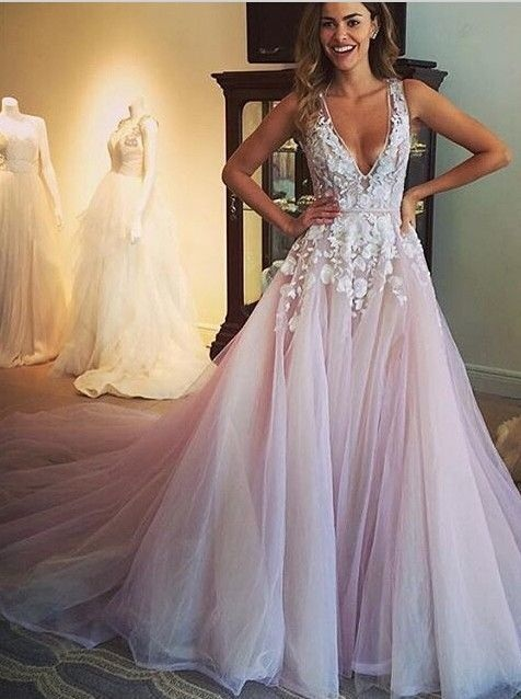 Gorgeous a line scoop long wedding dress pink prom dress with gorgeous a line scoop long wedding dress pink prom dress with appliques pink junglespirit Images