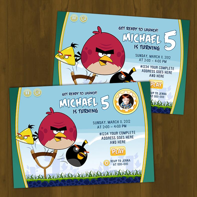 Angry Birds Birthday Printed Invitation Card · Splashbox Printables ...