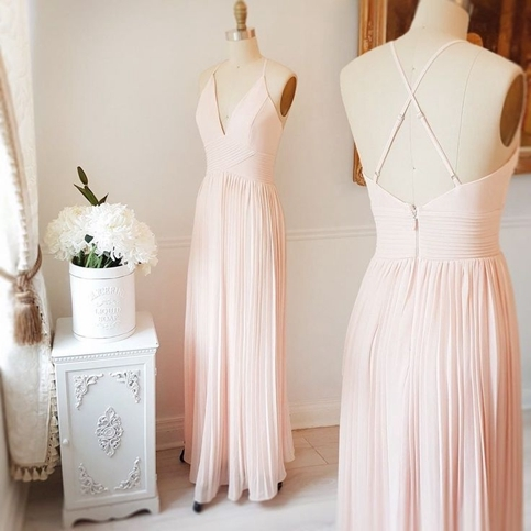 simple light pink prom dresses