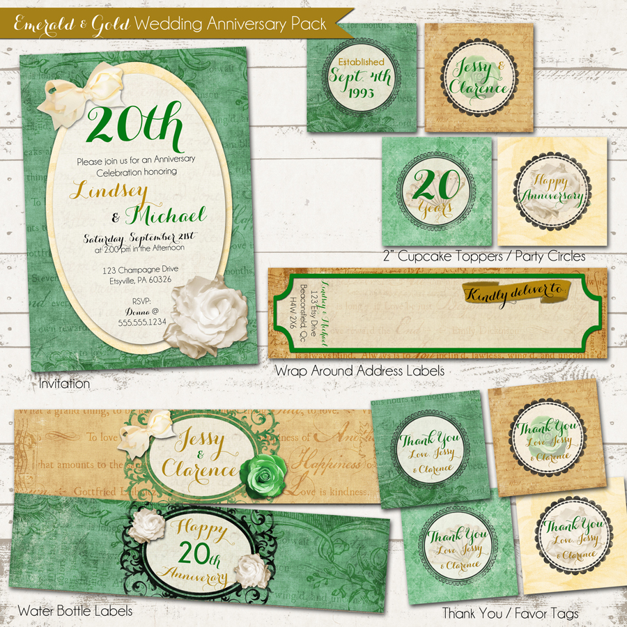 Valerie Pullam Designs | Wedding Anniverary Party Pack - Vintage ...