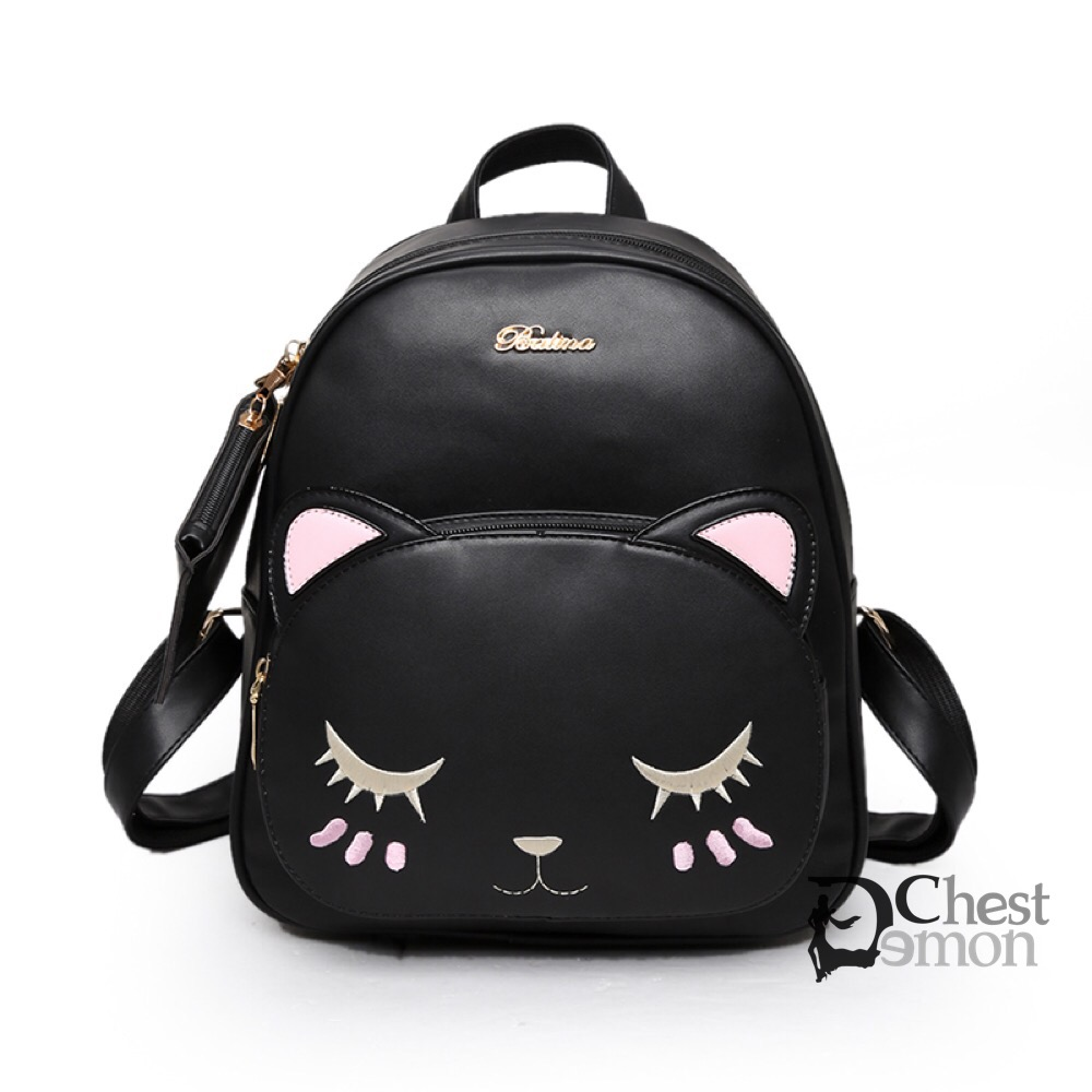 cute kawaii cat kitty pu backpack kpop cartoon schoolbags