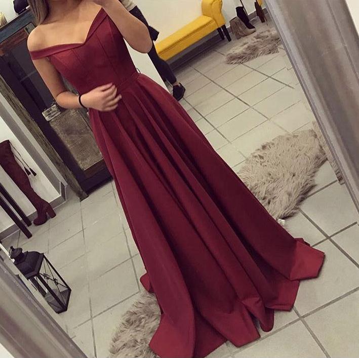 Off The Shoulder Burgundy Prom Dressgraduation Party Dresses