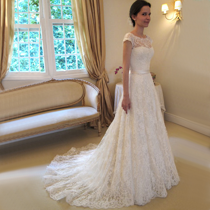 H473 Cap Sleeve Wedding Dresses, Lace Chapel Train Wedding Bridal ...