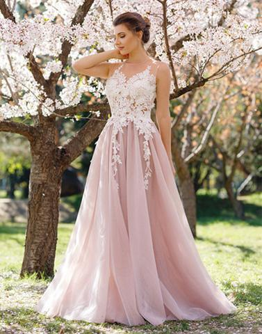 2017 prom dresses,light pink prom dresses,lace applique prom dresses ...