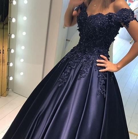 3bcc0ab9b10 Dark blue satin lace long prom dress