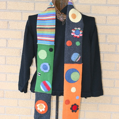 Funky, colorful, dotty wool scarf