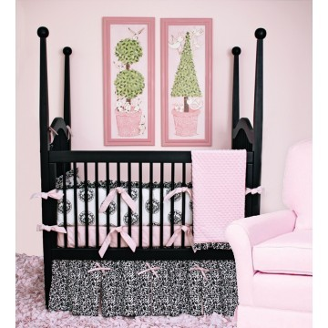 Pink, white, black Crib Bedding Set