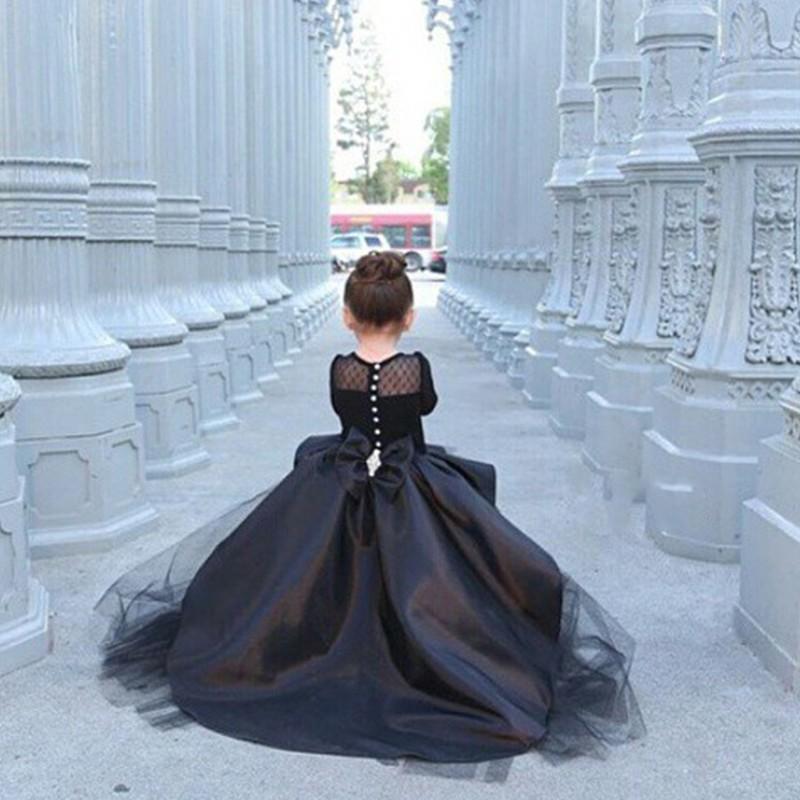 Hot Black Long Sleeves High Low Flower Girl Dresses Girls Pageant ...