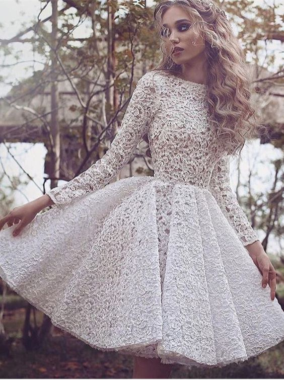 White Long-Sleeves Short Glamorous Full-Lace Homecoming Dress High ...