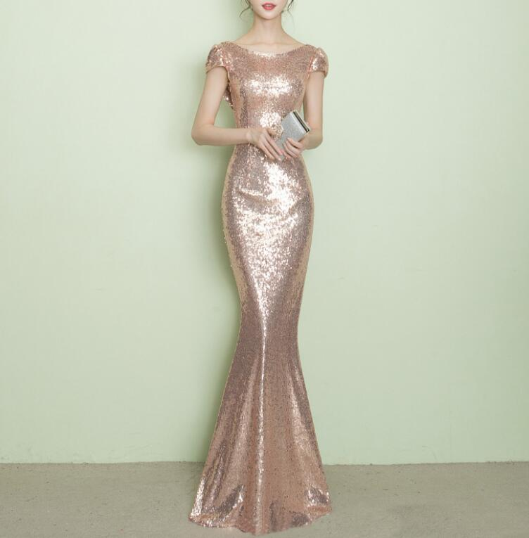 ZX33 Short Sleeve Mermaid Sequin Gold Prom Dress,Rose Gold Sequin ...