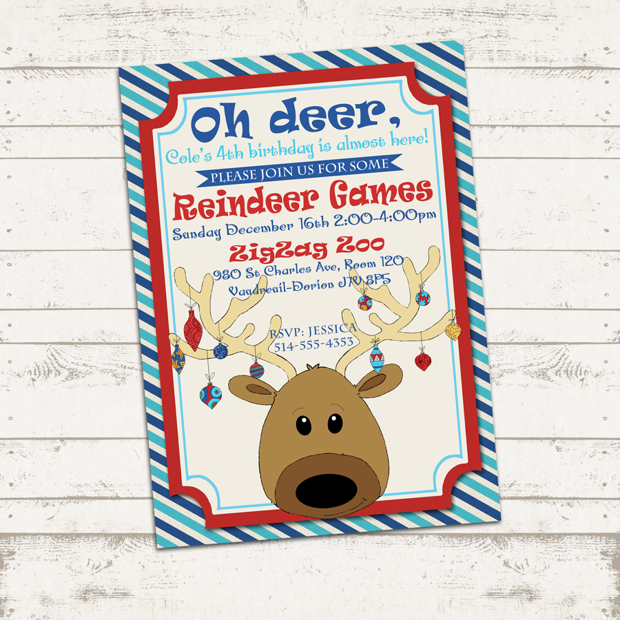 Custom Christmas Party Invitation - 7X5 printable download - Reindeer Games Holiday / Birthday party, colorful, striped postcard from Valerie Pullam ...