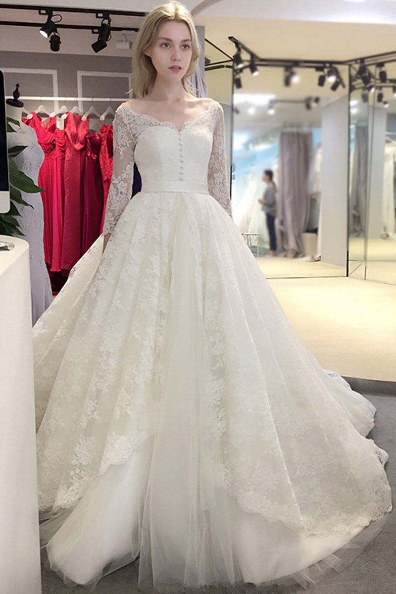 spring Newest elegant ball gown long sleeve wedding dress v -neck ...