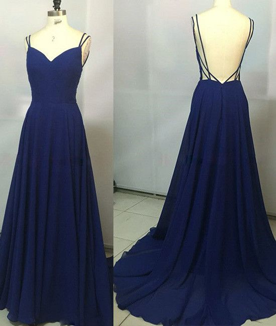 F409 Real Made Long prom Gowns, Spaghetti Straps Evening Gowns ...