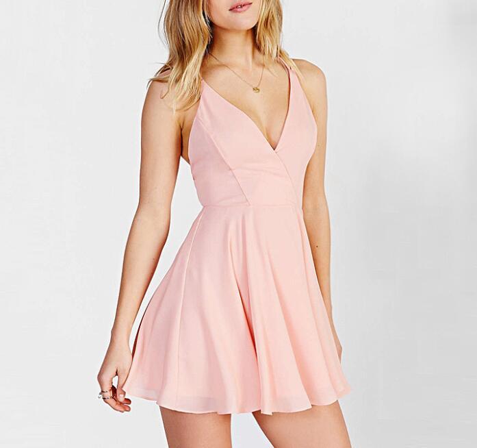 Lovely Pink V Neck Homecoming Dress,Short Open Back Party Dress ...