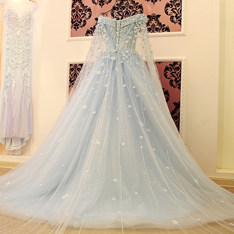 D352 Off the Shoulder Long Sleeve Wedding Party Gowns, Light Blue ...