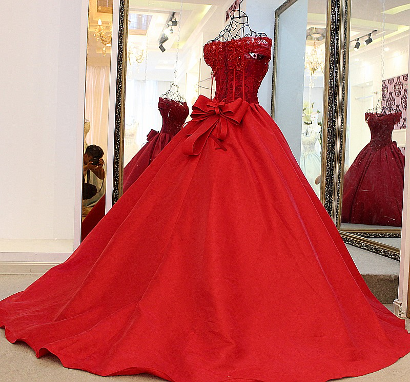D359 Short Sleeve Off the Shoulder Hot Red Wedding Bridal Gown ...